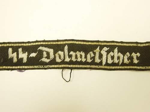 SS Dolmetscher cuff title