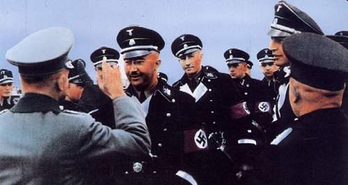 I want to see dress of the reinhard heydrich ss-general black overcoat full insignia please+++