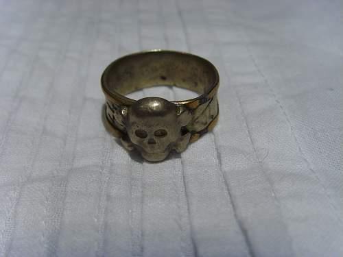 Missing trench art skull ring