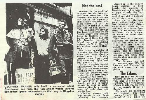 Article from 1977 on Nazi regalia trade.