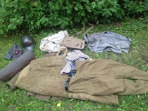 Finnish SS volunteer tunic and much Finnish and Soviet gear found!