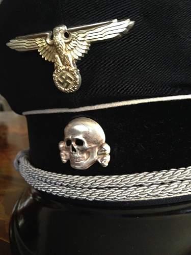 silken black SS officer's cap, ca. 1937 or 1938,  Fa. Mueller, Muenchen.