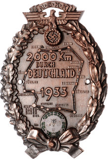 SS plaque for the 2000 kms travelled around Germany, 1933