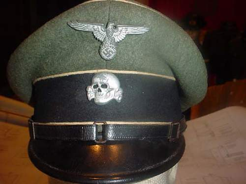 SS grey peaked cap with runic interior