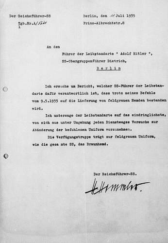 Click image for larger version.  Name:Hemden feldgrau für LSSAH [Brief Himmler 11. Juli 1935].jpg Views:130 Size:106.1 KB ID:690710