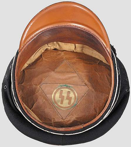 black SS peaked cap, 1934/5 variety