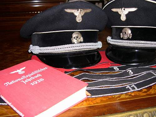 Black SS officer's cap: ex leading collection, ex the Shea Beaver book.