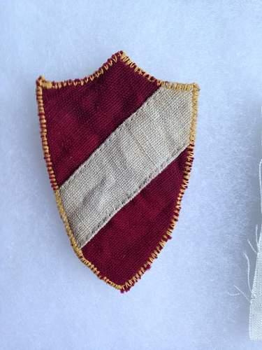 Two Latvian SS sleeve shields - Original/Fake