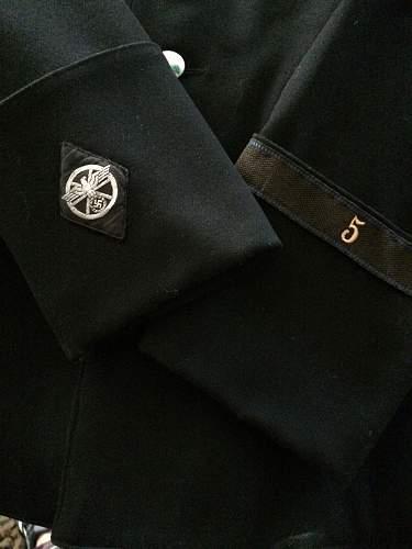 schwarzer Dienstrock plus Muetze, Motorstandarte 2, Fulda Werra