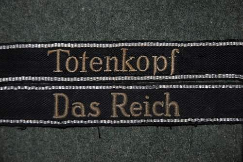 "Waffen SS ""Totenkopf"" flat wire cuff title"