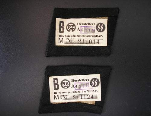 Embroidered EM SS Collar Tabs with RZM tags