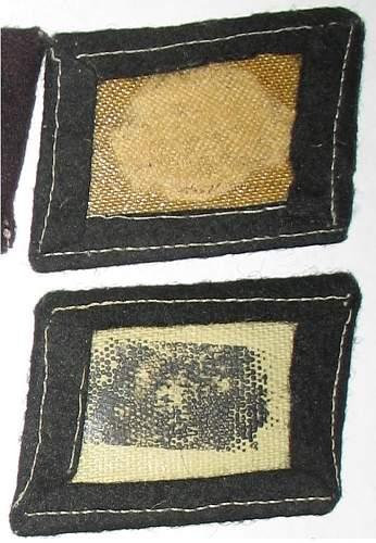 2 single Totenkopf collar tabs