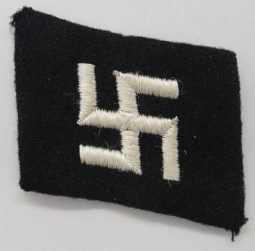 Latvian SS early collar tab (with swastika) - Original/Fake?