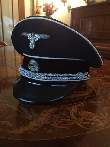 black peaked caps.
