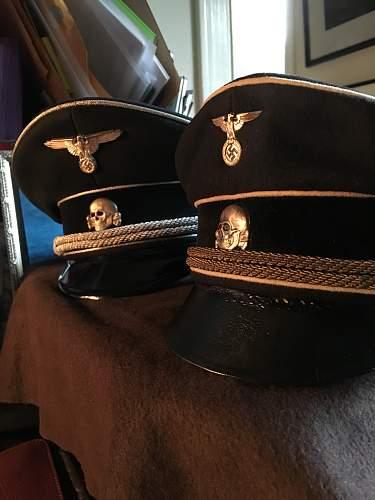 SS Dienstmuetze, alte hohe Form, Kupper, W-Ronsdorf, Lederschirm.  Selten...