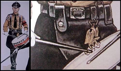 Allgemeine SS Brown Shirt parade drum bronze eagle hanger