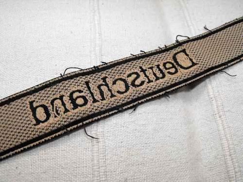 Bevo Deutschland cuff title: cloth cap insignias