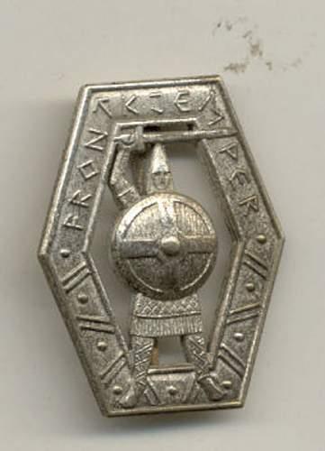"Unusual variation of a Norwegian SS-badge ""Frontkjemper"""