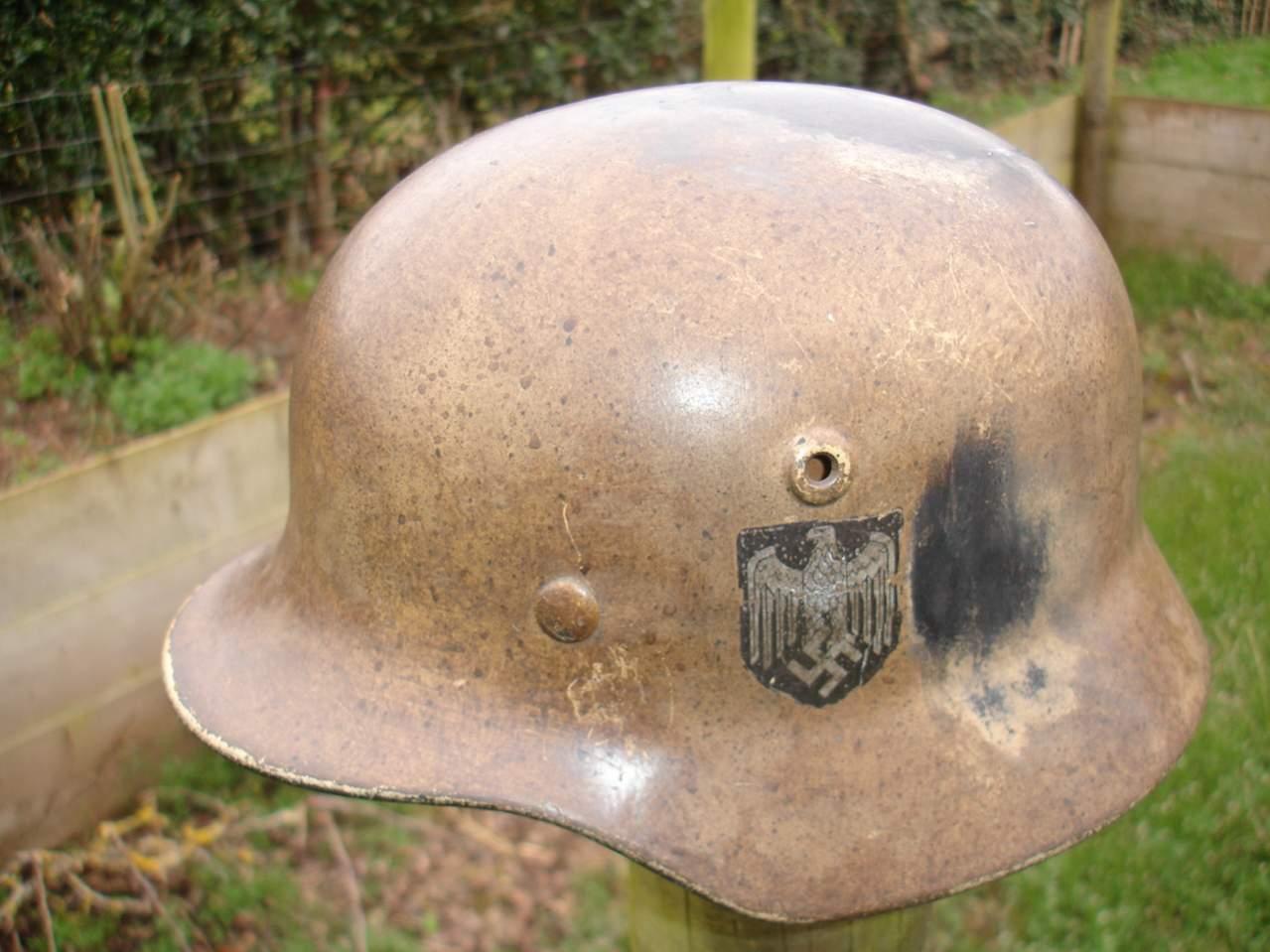 M40 DD Heer WW2 German helmet Sudfront tropical