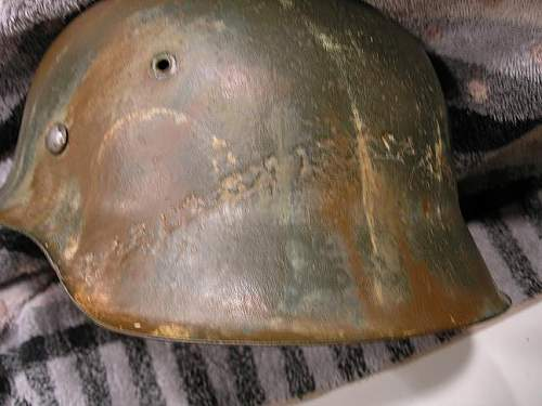 Camo helmet with flaw