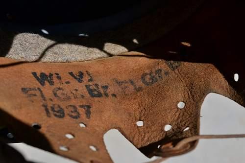 Markings on Luftwaffe DD Helmet liner