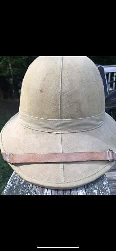 Bakelite button top desert helmet HELP