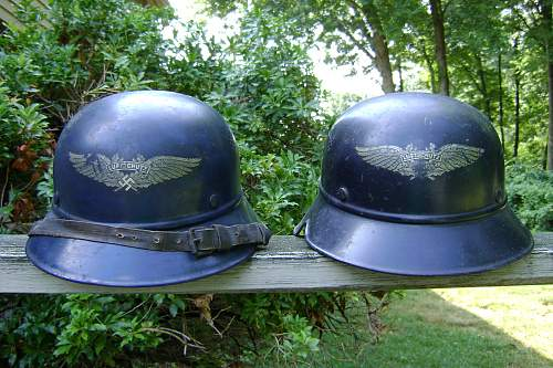 A Pair of Beaded One Piece Gladiator Luftschutz Factory Police Helmets - Voigt & Haeffner AG