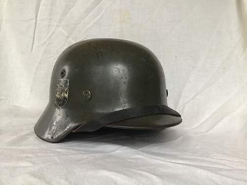 M35 Double Decal 4th SS Police Division(?) Helmet - ET64 - Lot# 4395