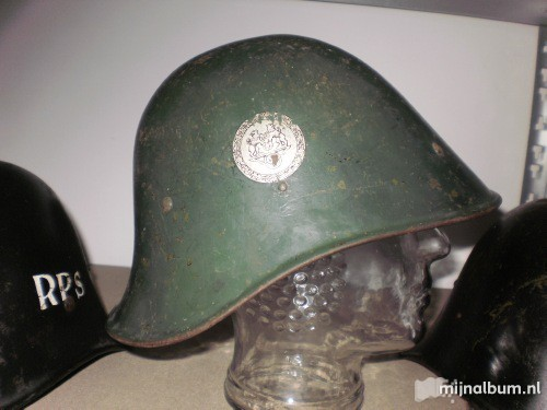 Dutch helmet with swastika and lion's decal