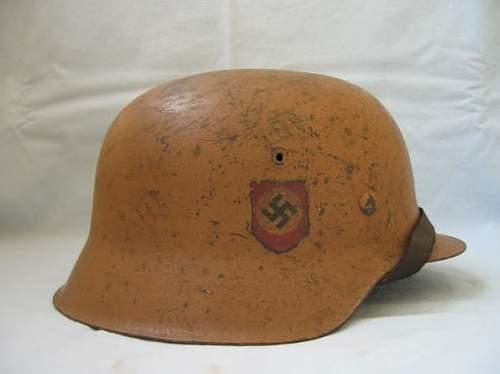 Feldgendarmerie Stahlhelm Tropical Camo.