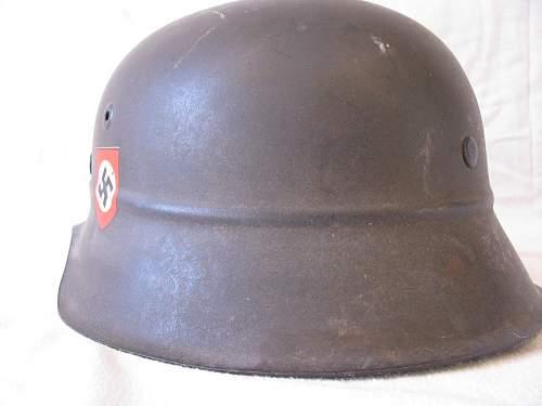 M42 Beaded Luftschutz Combat Police Helmet - Reverse Decal
