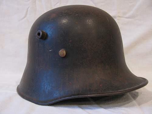 Early TR M18 Police Helmet, Tilted Tricolor, Scraped Mobile Swatika