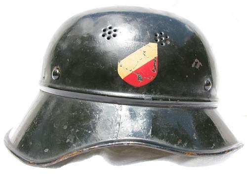 Three Piece Luftschutz Helmet - Double Decal - Smooth Dark Green Paint
