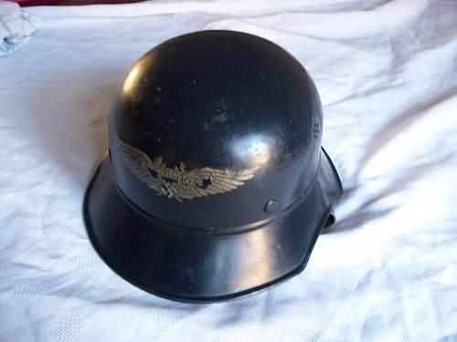 3 Luftschutz helmets various.
