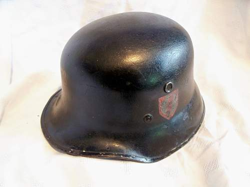 Vulkanfiber parade helmet with unusual decals