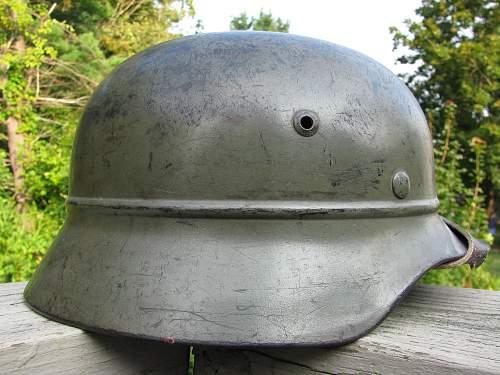 M35 Beaded Helmet - Triple Decal - Volkssturm Used?