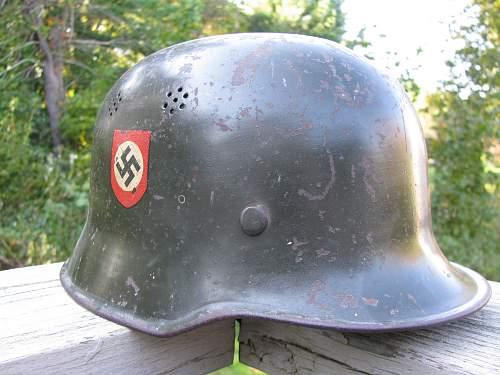 M34 DD Factory Police Helmet - Telefunken Factory Guard