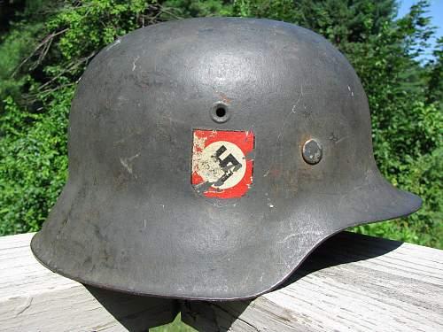 DD M42 Combat Police Helmet - HKP 64-Lot # 3609- Unbordered Police Adler