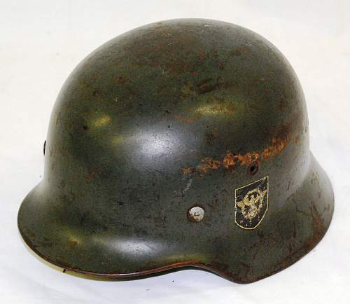 WW2 Nazi Police helmet, fake decals?