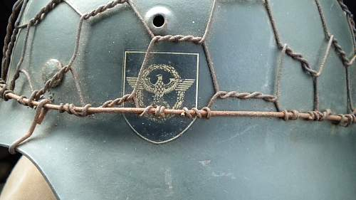 Police helmet with wire cover