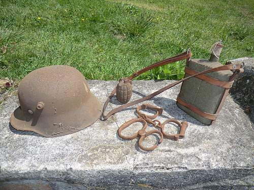 Helmet and other items purchased less than 15 minutes ago....fresh from an attic.