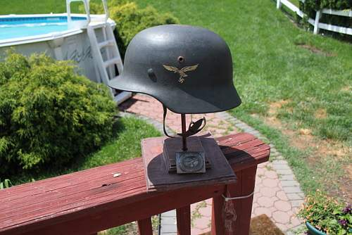 First German Helmet, first time forum user! M40 Luftwaffe Single Decal **PIC HEAVY!**