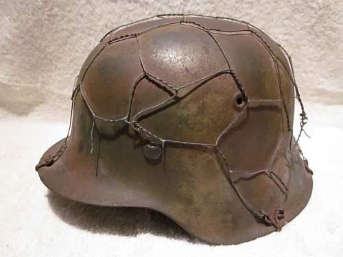 Chicken wire M42 Camo helmet Help
