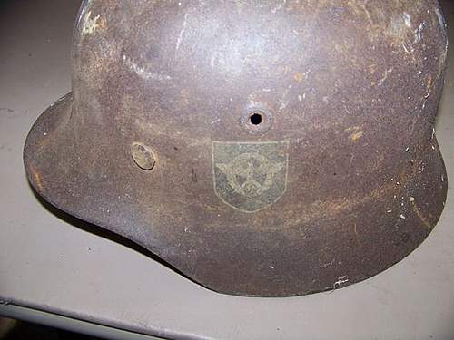 M35 Helmet with Police Decal for Review