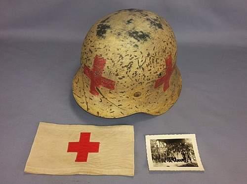 WW2 German M42 Named Combat Medic Helmet