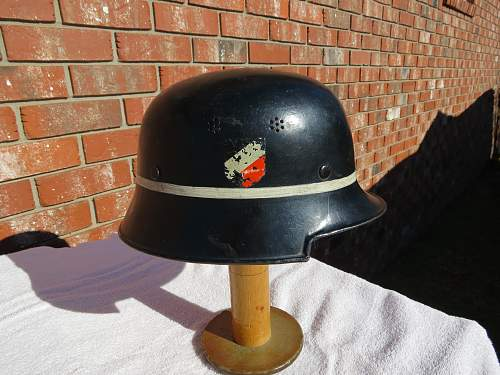Named M34 Luftwaffe Fire Brigade helmet.