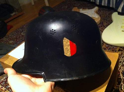 Tilted national decal fire helmet