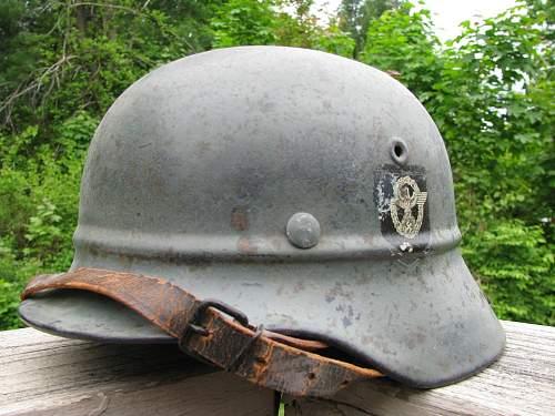 M40 Double Decal Beaded Luftschutz Combat Police Helmet - Medium Grey Paint - EF62 Lot # 31366