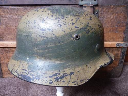 Two tone camo M35 helmet....with issue