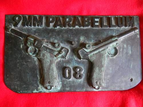 german luger bonze plaque